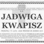 Odeszła Jadwiga Kwapisz