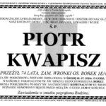 Nie żyje Piotr Kwapisz